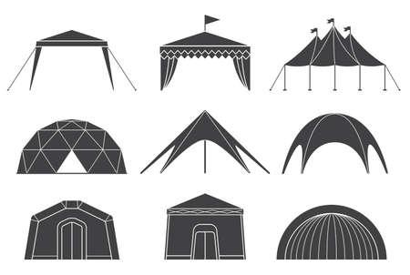 Set di diversi disegni di tende per tende da campeggio e da padiglione. Tende per il campeggio in natura e per celebrazioni all'aperto. Illustrazioni vettoriali semplici e amabili.