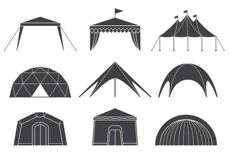 Set of various designs of tents for camping and pavilion tents. Tents for camping in the nature and for outdoor celebrations. Simple and lovable vector illustrations.