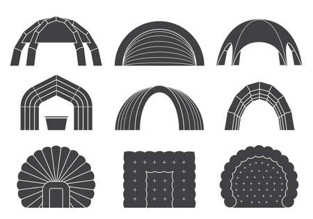 dome: Set of various designs of inflatable tents for various purposes. Inflatable tent for event and for outdoor celebrations. Simple and lovable vector illustrations.
