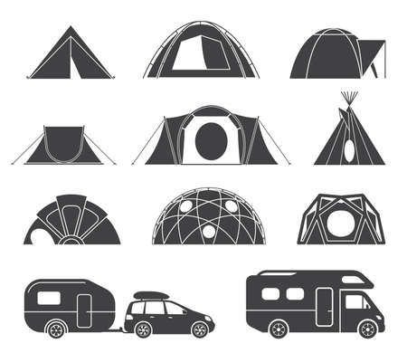 caravans: Tents and caravans for camping in the nature. Set of various designs of tents and caravans for camping and spending time outdoors. Simple and lovable vector illustrations.