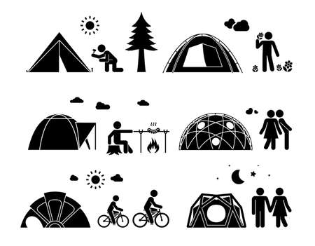 couple hiking: Camping in the nature. Set of icons presenting various activities on camping outdoors in wild with different types of tents.