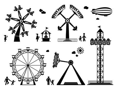 遊園絵文字セット。楽しさとエンターテイメントの屋外。コースターとアドレナリンの乗り物。  イラスト・ベクター素材