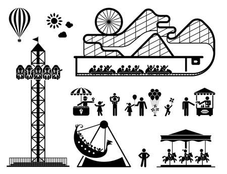 ferriswheel: Amusement park pictogram set. Fun and entertainment outdoors. Roller coaster and adrenaline rides.