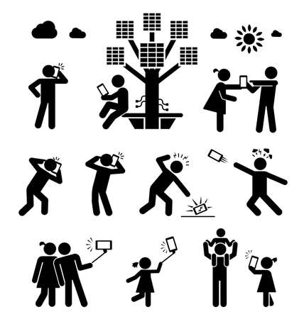 woman cellphone: Usage of cell phone in modern living. Set of pictograms representing people in various situations of using cell phone, talking, shooting photos, charging battery.