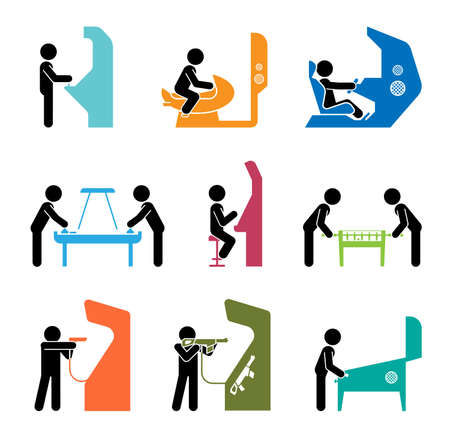 Pictograms representing people playing games. Various types of having fun in gaming center.