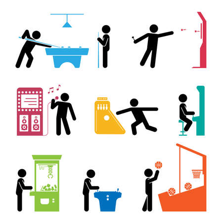 Pictograms representing people playing games. Various types of having fun in gaming center and amusement parks.
