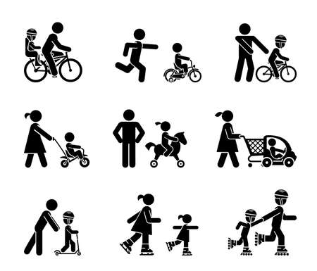 introducing: Parents and their kids on the move. Set of pictogram icons representing parents introducing their children with various types of rides. Illustration