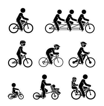 off road biking: Set of pictograms presenting people riding various types of bicycles. Illustration