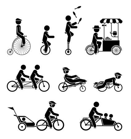 mobile: Set of pictograms representing people riding various types of bicycles.