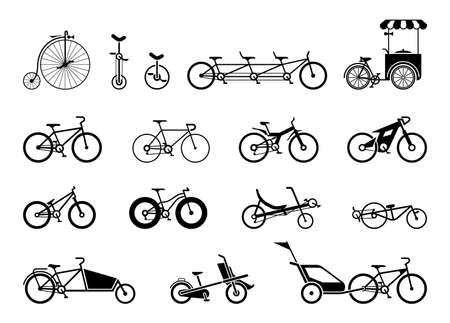 Set of icons representing various types of bikes.