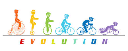 Concept illustration of bicycle developing trough time. Pictogram vector illustration of cyclist riding various types of bicycles and monocycles.