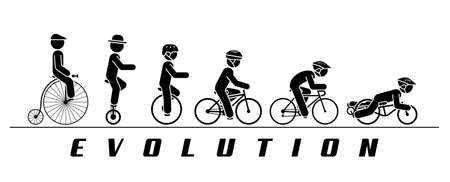 off road biking: Concept illustration of bicycle developing trough time. Pictogram vector illustration of cyclist riding various types of bicycles and monocycles.