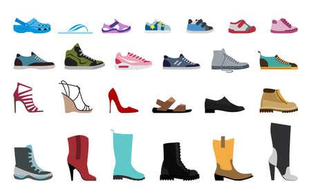Collection Chaussures pour hommes, femmes et enfants. Chaussures élégantes et à la mode, sandales et bottes.
