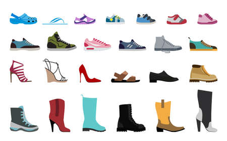 Collection Men's, Women's and children's footwear. Stylish and fashionable shoes, sandals and boots. 版權商用圖片 - 78166471