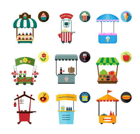 movable: Set of stylized illustrations of promo stands and various promotional and sales objects. Collection of objects for external usage such as movable and fixed market stalls.