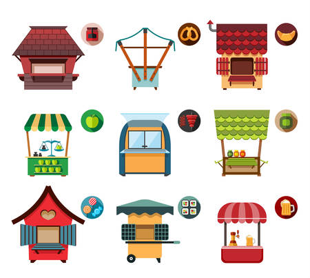 movable: Collection of movable and fixed stalls for external usage. Set of stylized illustrations of promo stands, food stalls, kiosks, market stalls and various promotional and sales objects.
