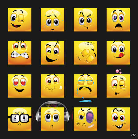 enjoyment: Vector set of face icons.