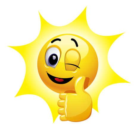 엄지 손가락을 보여주는 윙크 웃는. 이모티콘은 긍정적 인 분위기를 보여줍니다.