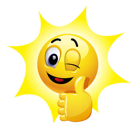 Winking smiley showing thumb up. Emoticon thumbs up showing positive mood.