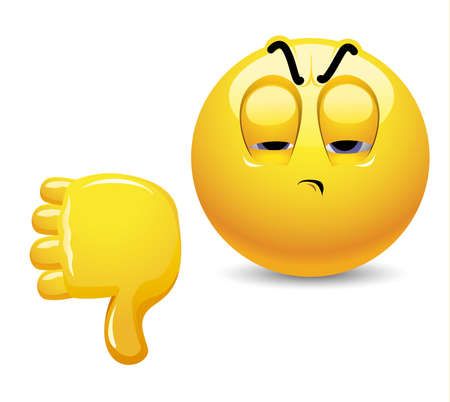 criticism: Angry smiley showing thumb down. Emoticon thumb down showing negative assessment. Illustration