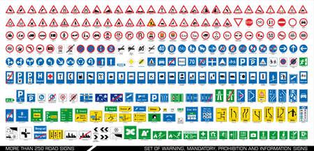 Più di 250 segnaletica stradale. Raccolta di segnaletica di avvertimento, obbligatoria, divieto e informazione. Raccolta di segnaletica stradale europea. Illustrazione vettoriale.