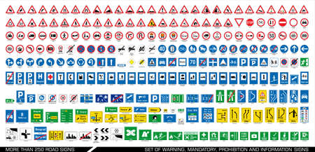 More than 250 road signs. Collection of warning, mandatory, prohibition and information traffic signs. European traffic signs collection. Vector illustration. Vettoriali