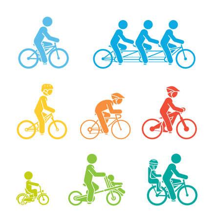 Man riding types of bikes illustration. Illustration