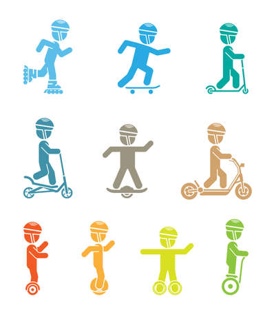Man riding types of bikes illustration. Illustration
