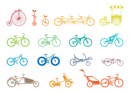 Set of icons representing various types of bikes, modern, traditional, sport, extreme. Illustration