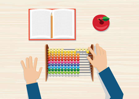 Hand using the abacus calculating tool. Illustration