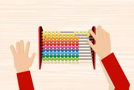 Hand using the abacus calculating tool. Counting frame used for calculations. Illustration