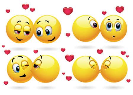 Smiley bécotant un autre smiley Banque d'images - 86846325