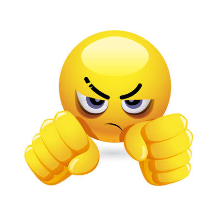 Angry emoticon prepared to fight.