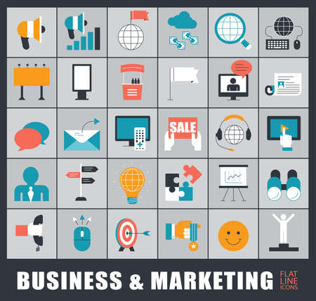 Set of business and marketing icons. Collection of premium quality icons for advertising and communication.