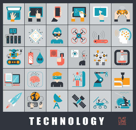 Set of technology icons.  Various high tech icons. Иллюстрация