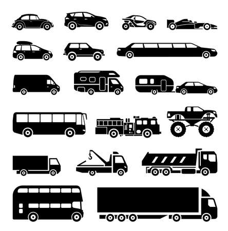 Signs presenting different means of transportation. Collection of signs presenting different modes of transport on land. Modern means of transportation. Transportation icons. Ilustração