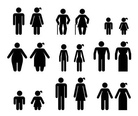 Set van pictogrammen die verschillende soorten mensen vertegenwoordigen. Uiterlijk van het lichaam. Pictogrammen die mensen vertegenwoordigen met verschillende soorten lichaamsvorm en leeftijdsverschil. Stock Illustratie