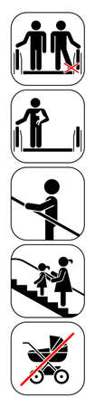 Set of pictograms which represent correct usage of escalator. How to use escalator in a safe way. Vector illustration. Illusztráció