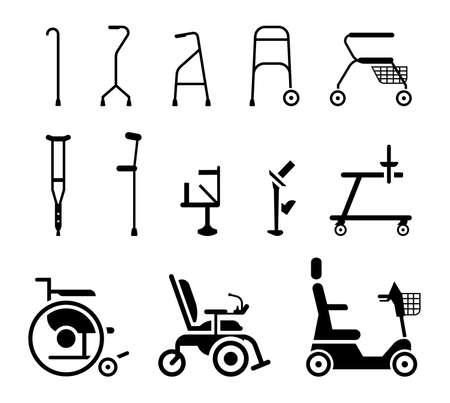 Conjunto de iconos que representan equipos ortopédicos, sillas de ruedas, muletas y dispositivos de movilidad. Varios accesorios ortopédicos y silla de ruedas que ayudan a las personas con discapacidad, ancianos y heridos a moverse. Ilustración de vector