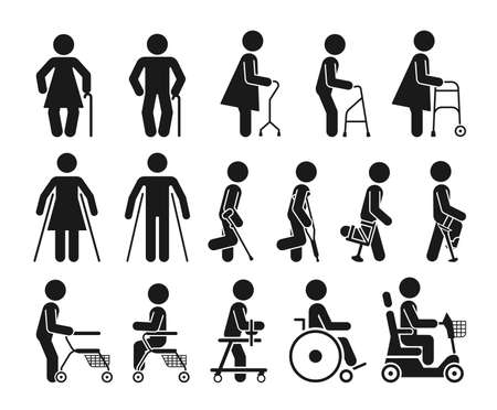 Reihe von Icons, die Menschen mit verschiedenen orthopädischen Geräten darstellen. Piktogramme, die behinderte, ältere und verletzte Menschen darstellen, die orthopädische Hilfsmittel und einen Rollstuhl verwenden, um sich zu bewegen. Vektorgrafik