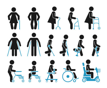 them: Set of icons which represent people using various orthopedic equipment.  Pictograms that represent handicapped, elderly and injured people who use orthopedic accessories and wheel chair to help them move.