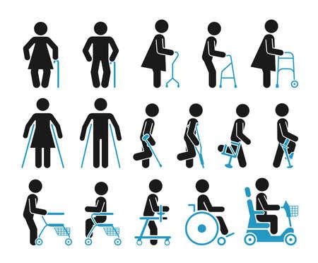 Zestaw ikon, które reprezentują ludzi za pomocą różnych urządzeń ortopedycznych. Piktogramy przedstawiające osoby niepełnosprawne, starsze i ranne, które używają akcesoriów ortopedycznych i wózka inwalidzkiego, aby pomóc im w poruszaniu się.