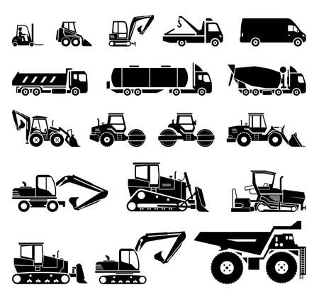 Set of various transportation and construction machinery. Heavy equipment.  Collection of heavy trucks. Heavy-duty vehicles, designed for executing construction tasks and earthwork operations. Stock Vector - 90149053