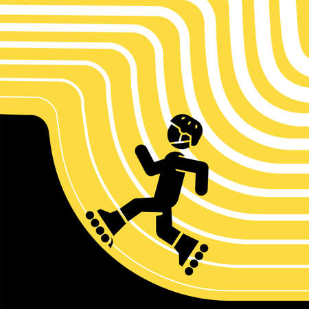 Vector illustration of roller skating in a park.