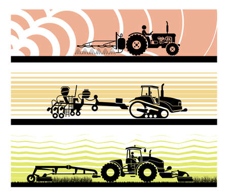 Set of different types of gardening and agricultural vehicles and machines; Spraying, agricultural protection, sowing, mowing, harvesting, planting, Agricultural works, soil preparation, arable land.