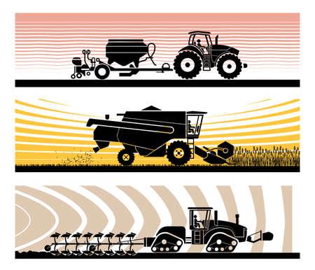 Set van verschillende soorten tuinieren en landbouwvoertuigen en machines. Zaaien, maaien, oogsten, planten, landbouwwerkzaamheden, grondbewerking, bouwland.