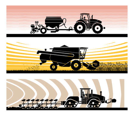 Set of different types of gardening and agricultural vehicles and machines.  Sowing, mowing, harvesting, planting, agricultural works, soil preparation, arable land.