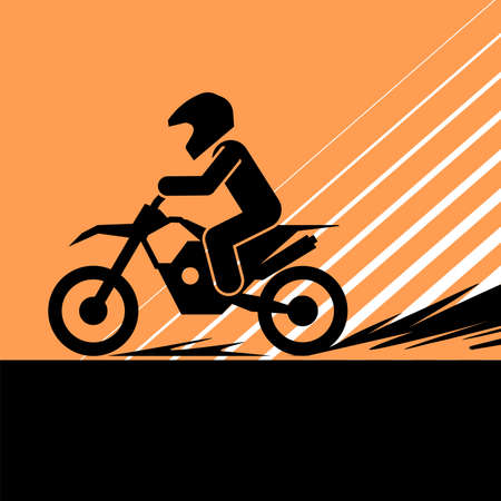 Pictogram of a person riding motorcycle on extreme road. Vector illustration of a motorcyclists.