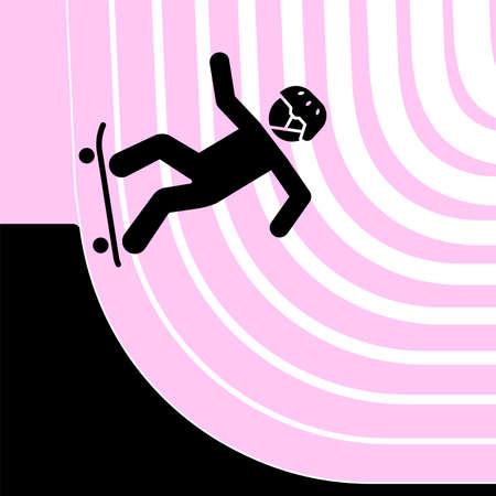Vector illustration of a skateboarder in a skate park. Illustration