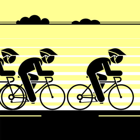 Cyclist riding long distance. Vector illustration.
